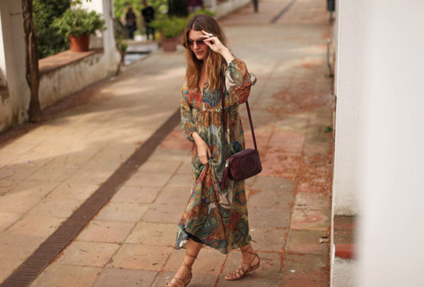 my daily style blogger boho dress gucci bag paisley maxi dress leather sandals