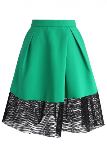 A-line Skirt with Mesh Hem - Retro, Indie and Unique Fashion