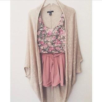 top pink tumblr vintage tumblr top tumblr skirt cardigan floral floral top skirt