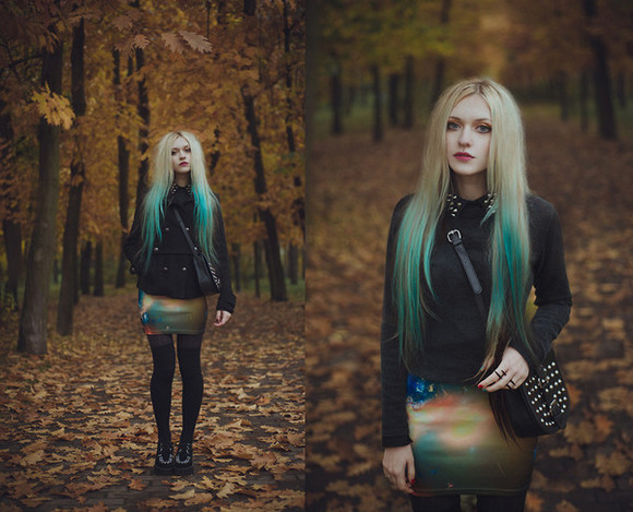 black coat shoes skirt galaxy skirt anita anti black shirt studded bag tights studded double platform ukraine