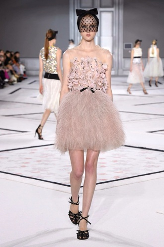 dress pink dress pink skirt feather dress feathers pastel dress pastel