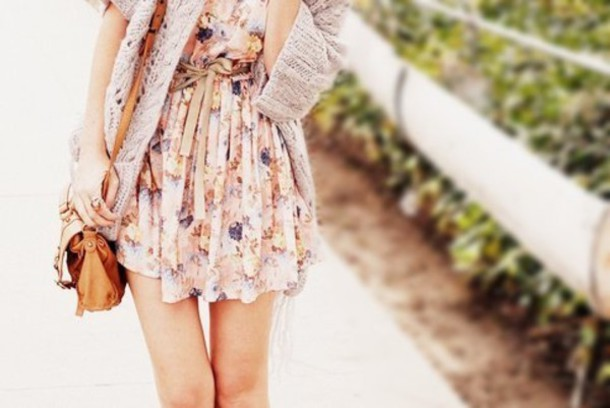 dress floral mini flowers floral sweater clothes girly pink flower power floral dress nude dress purse cardigan cute dress summer dress day dress cardigan tumblr weheartit summer belt boho short dress spring vintage classy dress short dress. it looks layered. brown dress floral dress girly dress cute summer dress