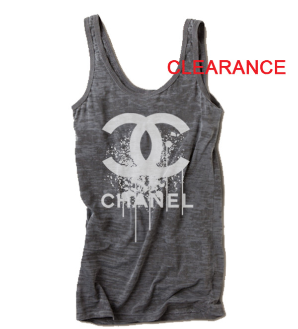 Chanel grey burnout cute top luxury brands chanel t for Top designer t shirt brands