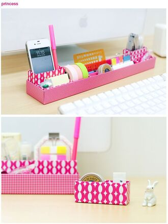 home accessory organizer office outfits girly desk pink pattern office supplies stationary