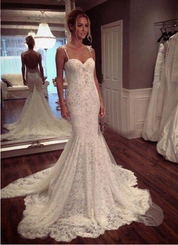 Lovelybride New Design Mermaid Spaghetti Straps Lace Wedding Dress For Bride At Amazon Womens Clothing Store