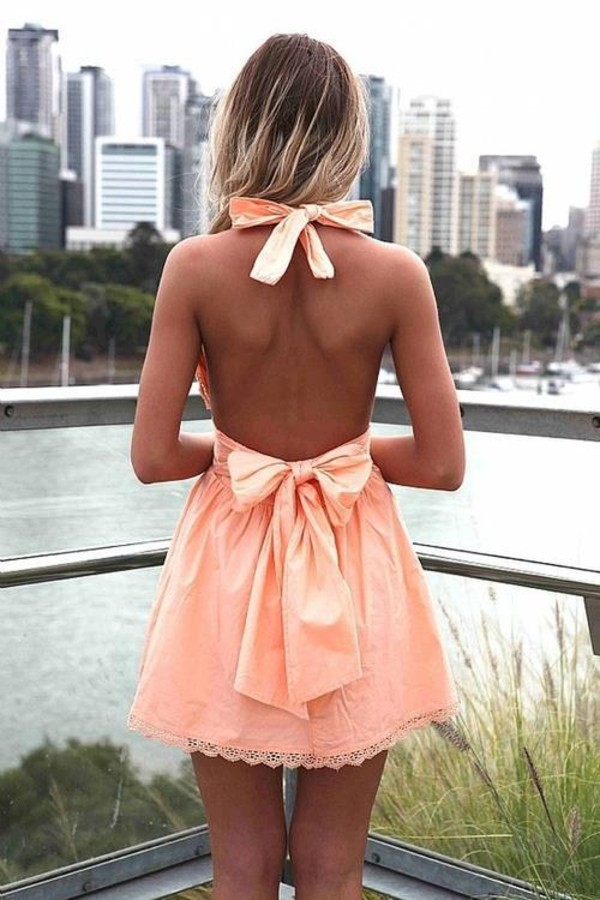 dress mini dress coral skater dress short peach dresses peach dress bow bow dress peach dress strap peach dresses peachy bows pretty dress peach bows summer summer outfits cute backless dress backless prertty cute dress pink dress coral dress summer dress pink prom dress