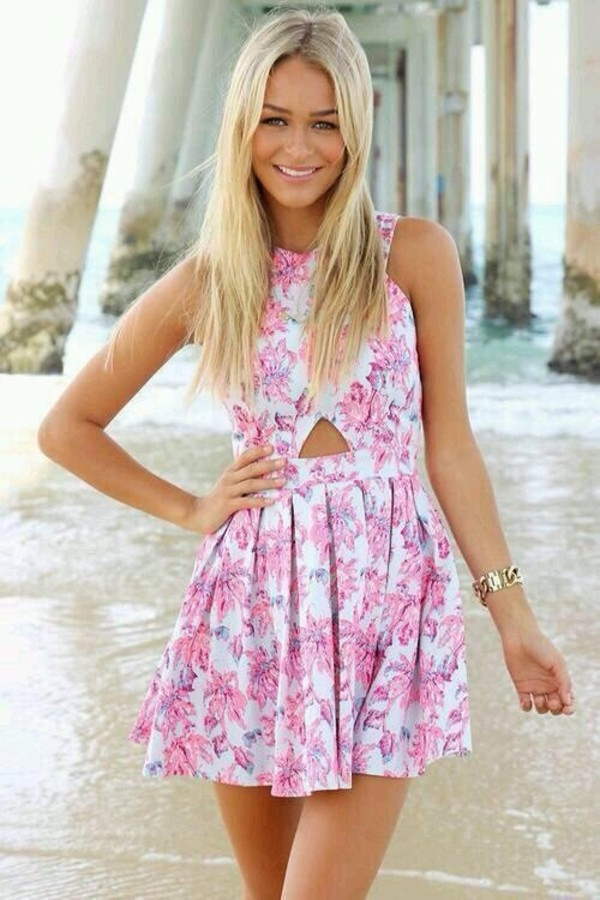 dress floral pink white