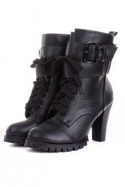 Shoes :: Boots :: Black Faux Leather Punk Rock Funky Lace-Up ...