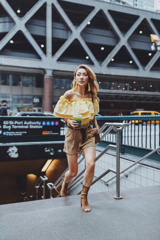 not jess fashion blogger jewels shoes bag top tumblr yellow yellow top off the shoulder off the shoulder top shorts high heels heels peep toe heels earrings