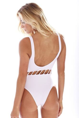 swimwear v-neck front cheeky one piece peixoto white bikiniluxe