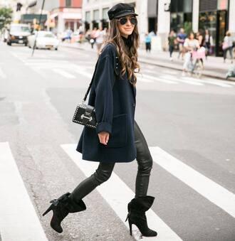 coat leather pants hat fisherman cap tumblr blue coat pants black pants boots black boots bag