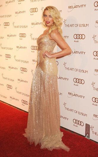 dress gold sequenced amber heard long dress