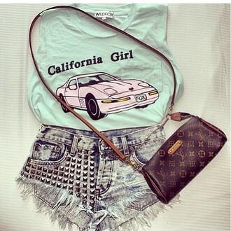 t-shirt california vintage louis vuitton studs shorts cut off shorts bag pink caliornia girl shirt girl car cute