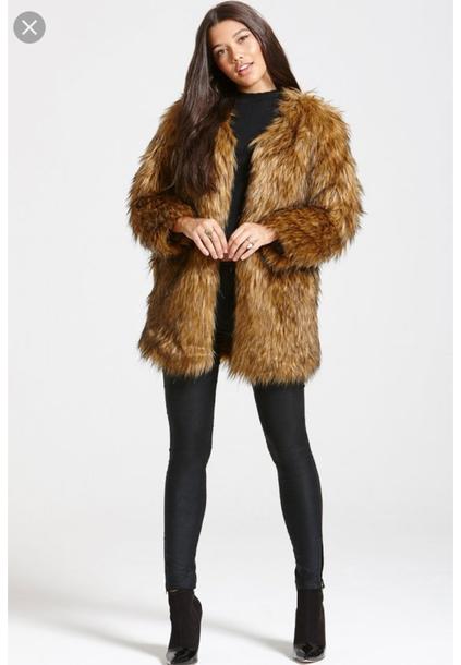 coat faux fur jacket faux fur jacket brown yellow coat faux fur coat
