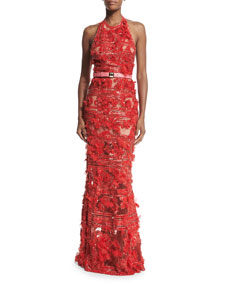 Elie Saab Embroidered Tulle Halter-Neck Gown, Lipstick