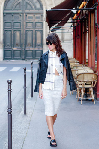 fashion is a playground blogger jacket leather jacket checkered blouse checkered grid white shirt pencil skirt grey skirt perfecto slide shoes platform shoes spring outfits