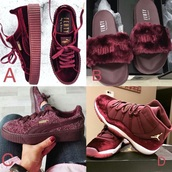 shoes,rihana fenty x puma,burgundy,jordans,creepers,puma fenty slides,air jordan,puma,winter look,sneakers,swag,fur,puma rihanna fenty faux fur slippers,slide shoes,classy,beautiful