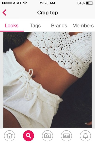shorts white shorts drawstring shorts crochet white shorts cute drawstring pants