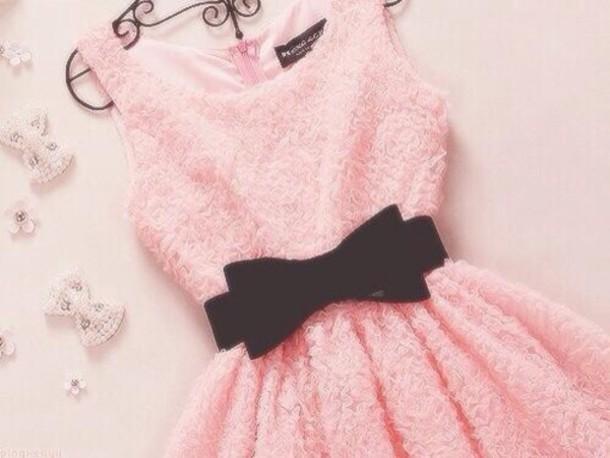dress a pink dress with black belt wheretoget
