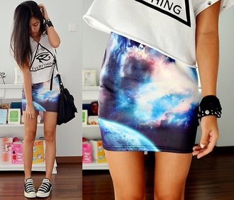skirt galaxy print bodycon skirt