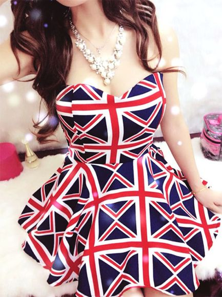 england british flag union jack flag uk white dress london britian great britian sleeveless strapless teacup teacup dress mini dress mini short red blue