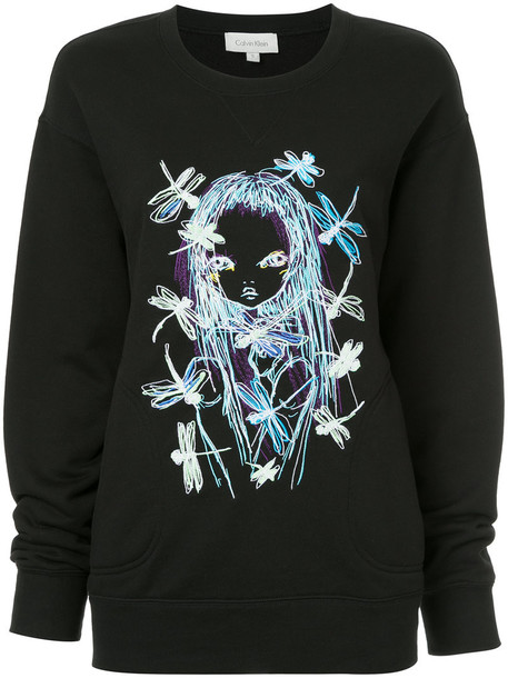 sweater embroidered women cotton black