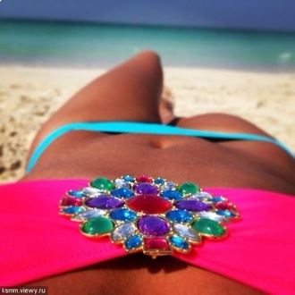 swimwear pink jewels bright blue
