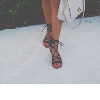 shoes gladiator flats sandals lace up purse grey shoe black strappy open toes