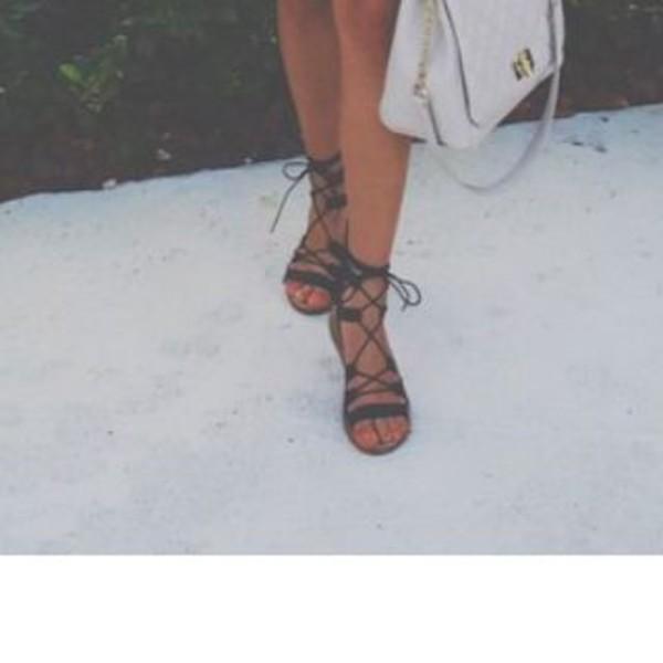shoes, gladiators, flats, sandals, lace up, purse, grey ...