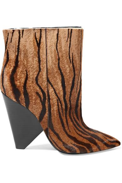 Saint Laurent - Niki zebra-print calf hair ankle boots
