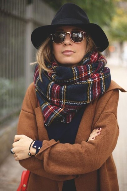 scarf plaid coat camel camel coat winter coat fall dress fall colors