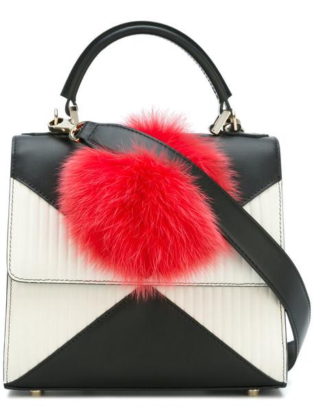 Les Petits Joueurs - fur pom-pom detail small tote - women - Calf Leather/Rabbit Fur - One Size, White, Calf Leather/Rabbit Fur