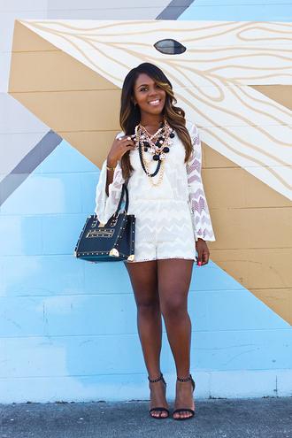 romper gold statement nacklace white romper black strappy sandals black and gold bag blogger