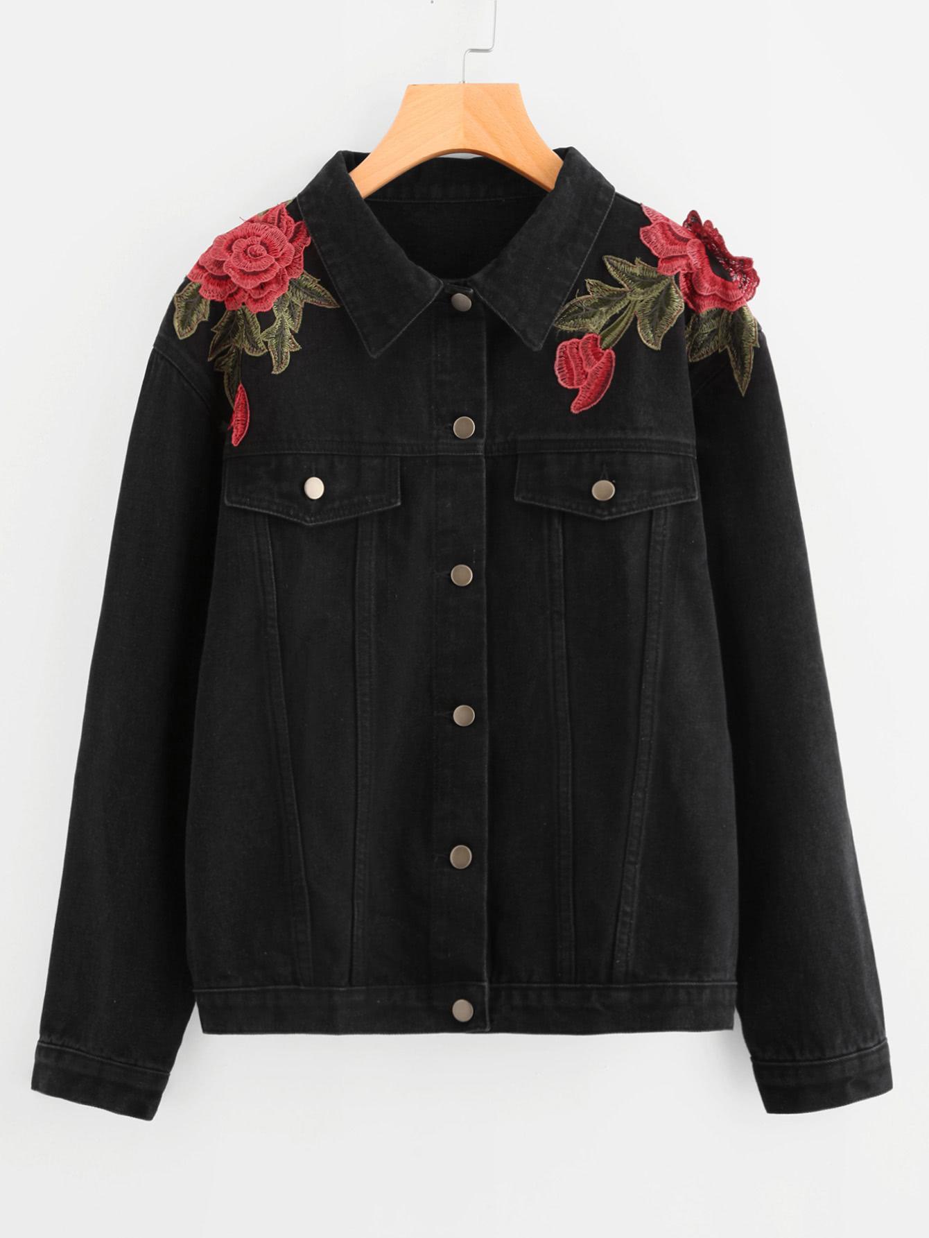 3D Rose Applique Denim Jacket -SheIn(Sheinside)