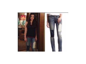 jeans blue white season 1 lucy hale pretty little liars embellished denim patchwork