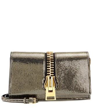 zip metallic bag shoulder bag suede gold