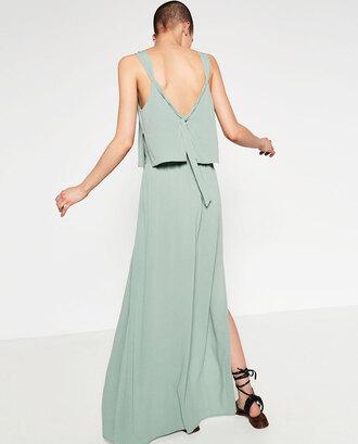 dress backless mint maxi dress