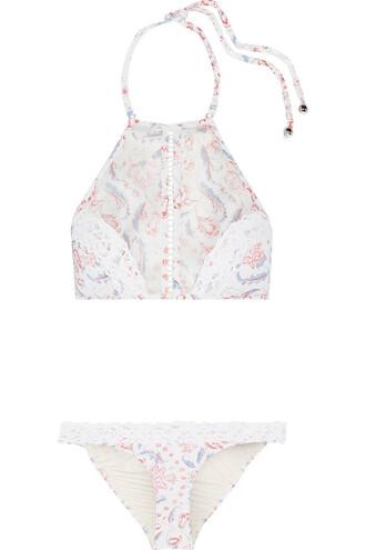 bikini floral print crochet white swimwear