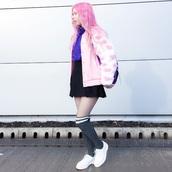 kayla hadlington,blogger,jacket,make-up,sweater,skirt,tights,socks,bag,fishnet tights,pink coat,fluffy,pink hair,blue sweater,turtleneck,turtleneck sweater
