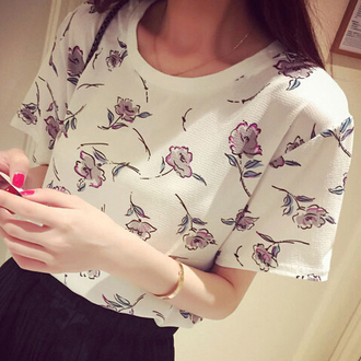 shirt floral cute white kawaii t-shirt trendy cool casual summer spring short sleeve it girl shop