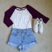 white sneakers,High waisted shorts,converse,high top converse,denim shorts,shirt,shoes,long sleeves,pockets,blouse,shorts,black and white shirt,top,casual,hat,blue shorts,burgundy top,white converse