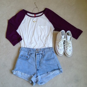 white sneakers high waisted shorts converse high top converse denim shorts shirt earphones hair accessory hat jeans shorts top dress baseball tee long sleeves outfit shoes summer necklace jewelry 3/4 sleeve three-quarter sleeves