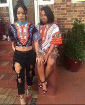 blouse,african print,top,crop tops,dress,tribal pattern,tribal shirt,ripped jeans,black jeans,skirt,shirt,dashikitee,dashikitshirtdress,colorful,jeans,black,denim,dashiki