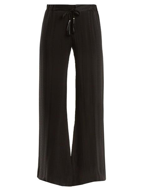 ZEUS + DIONE jacquard geometric silk black pants