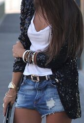 jacket,black,black jacket,sequins,sparkle,shawl,dress,coat,outfit,shorts,denim,black blazer,blazer,t-shirt,white t-shirt,vest,black sequin,white,jewels,watch,gold watch,gold bracelet,bracelets,necklace,stylish,sweater,sequin cardigan,sequin jacket,black sparkle,cardigan,shin,skirt