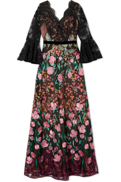 Marchesa Notte gown embroidered lace black dress