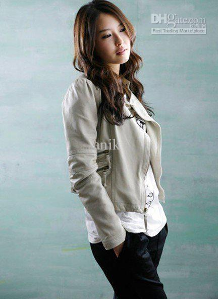 New Womens Korea Sexy Ladies Beige Leather Jacket Jackets | Buy Wholesale On Line Direct from China