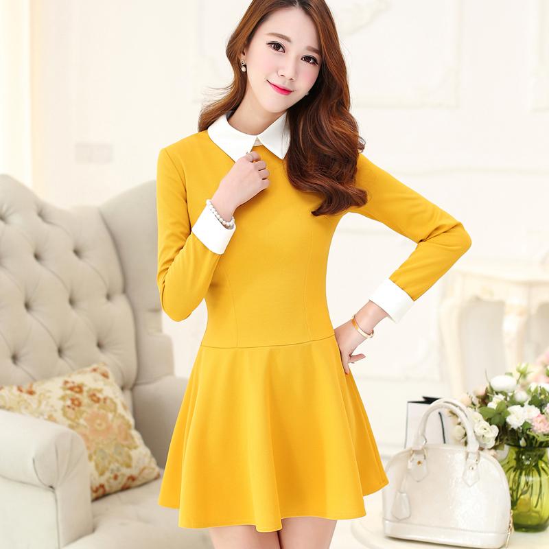 9d0d077d70d 2015 New Spring Autumn Korea Style Long Sleeve Slim Patchwork Plus Size  Women Dress Female Vestidos Casual ...