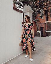 bag,dress,floral,midi dress,floral dress,shoes,white shoes,straw bag