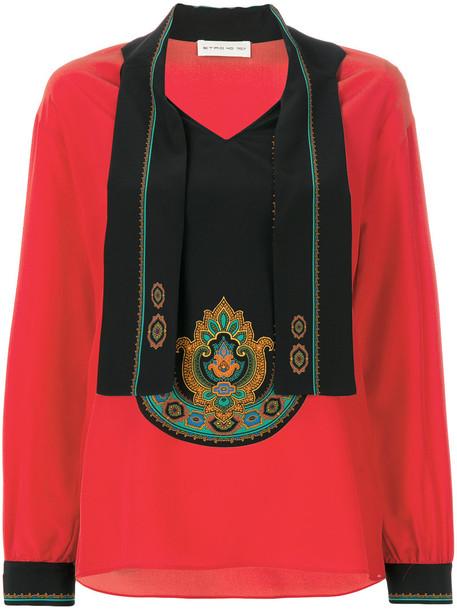 ETRO blouse women silk red top